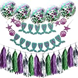 Little Mermaid Party Supplies & Party Decorations Happy Birthday Banner and Confetti Balloons for Mermaid Birthday Party Supplies Baby Shower Decorations