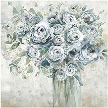 Cuadro de flores romántico azul de lienzo para salón de 100 x 100 cm France - Lola Derek