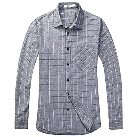 OCHENTA Men's Long Sleeve Plaid Flannel Shirt N113 Grey UK
