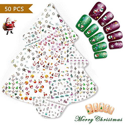 Nicedeco Christmas 50 Sheets ( More Than 1500pcs ) 3D Nail Art Stickers Decals for Xmas & New Year Theme Nail Art Decoration