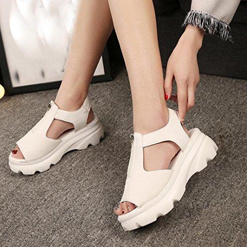 Transer ® Fashion femmes haut talon plat sandales d'été chaussons (Matériel: Cuir artificiel / Tissu de coton) Beige (Cuir artificiel)