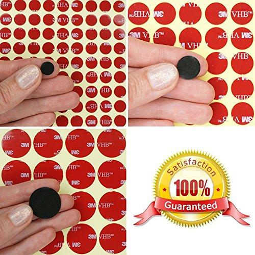 3M VHB Acrylschaum-Kreis Punkte ~ doppelseitige Klebepunkte ~ 10 mm, 14 mm oder 25 mm im Durchmesser x 0,64 mm dick ~ Modell: VHB5925, Schwarz, 20 Individual Dots -