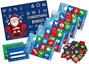 Xmas Stocking Filler - CHRISTMAS BINGO GAME- Family, Kids, Office party - 20 player - #F