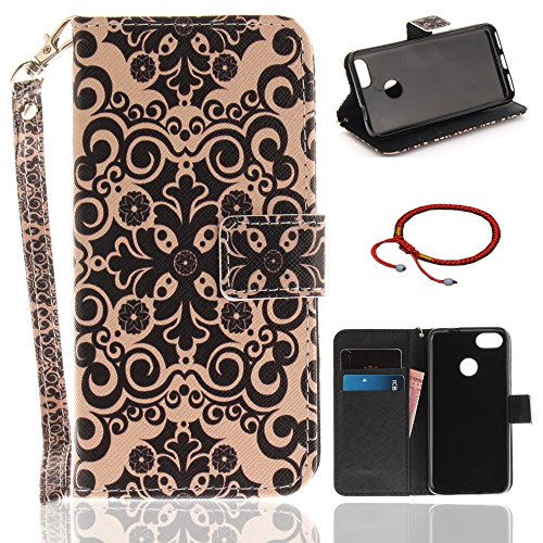 Price comparison product image Huawei P9 Lite Mini / Y6 Pro 2017 Ultrathin PU Leather Flip Cover Pattern, GOCDLJ Cell Phone Case for Huawei P9 Lite Mini / Y6 Pro 2017 Cell Phone Slim Protective Case Anti Scratch Bumper Cover Wallet Fully Protective Build in Stand Function Folio Book Style with Lanyard Strap Magnetic Holder Cash Pocket ID Card Slots Pouch Soft Silicone Backcover Backside Shell Artificial Sleeve + Chinese Style Red Bracelets Design Black Totem
