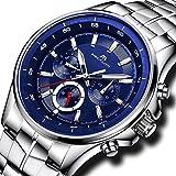 Herren Uhren Männer Wasserdicht Chronograph Sport Edelstahl Silber Armbanduhr Herren Datum Kalender Luxus Analoge Blau Designer Stopuhr
