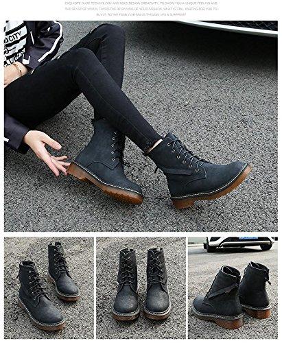 &zhou Femme Martin bottes automne et bottes d'hiver la mode Black