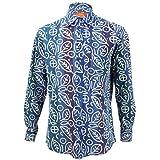 Loud Originals Regular Fit–Camisa de manga larga Azul Rainbow lavar con blanco abstracto Hojas
