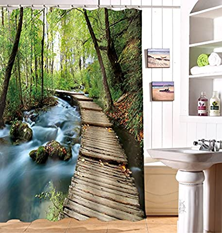 Alicemall 3D Secluded Forest and Wooden Path Printed Polyester Green Shower Curtain Waterproof Moldproof Bathroom Curtain with 12 Hooks 200cm*180cm (200*180cm,