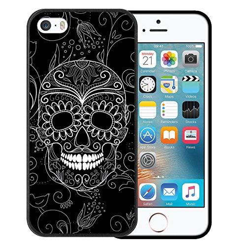 iPhone SE iPhone 5 5S Hülle, WoowCase Handyhülle Silikon für [ iPhone SE iPhone 5 5S ] Schädel und Rosen Handytasche Handy Cover Case Schutzhülle Flexible TPU - Transparent Housse Gel iPhone SE iPhone 5 5S Schwarze D0059