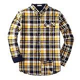 Mocotono Herren Langarm Kariertes Hemd Baumwolle Flanell Hemd mit Super Qualität