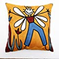 "18""x18"" Embroidery Picasso Abstract Painting Yellow Bee Man Pillow Case Cushion Cover"