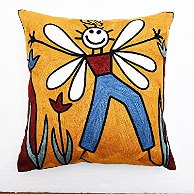 """18""""x18"""" Embroidery Picasso Abstract Painting Yellow Bee Man Pillow Case Cushion Cover"""