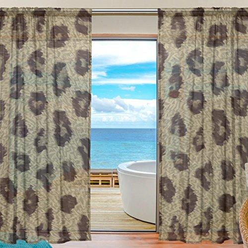 yibaihe Fenster Sheer Vorhänge Panels Voile Drapes Tüll Vorhänge Schöne Einrichtung Animal Print Leopard Textur 140W x 213 L cm 2Einsätze für Wohnzimmer Schlafzimmer Girl 's Room -