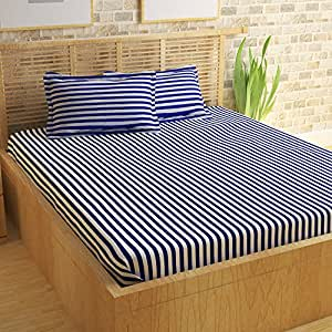 Story@Home Bedsheet for Double Bed With 2 Pillow Covers Combo Set, 100% Cotton - Magic Series, 152 TC, Stripes (Blue and White)