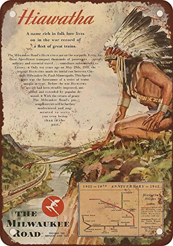 1945-milwaukee-road-hiawatha-reproduccion-de-aspecto-vintage-metal-signs-12-x-16-pulgadas