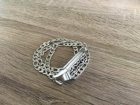 Triple Bracelet en métal argenté pour Fitbit Flex 2tracker faite à la main Bijoux Design plat Figaro Bracelet chaîne Fitbit Flex 2de remplacement Bande avec boîtier Argent