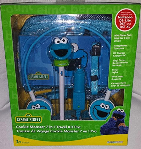 Sesame Street Cookie Monster 7-in-1 Travel Kit Pro für Nintendo DS Lite, DSi oder DSi XL (Kit Travel Nintendo Ds)
