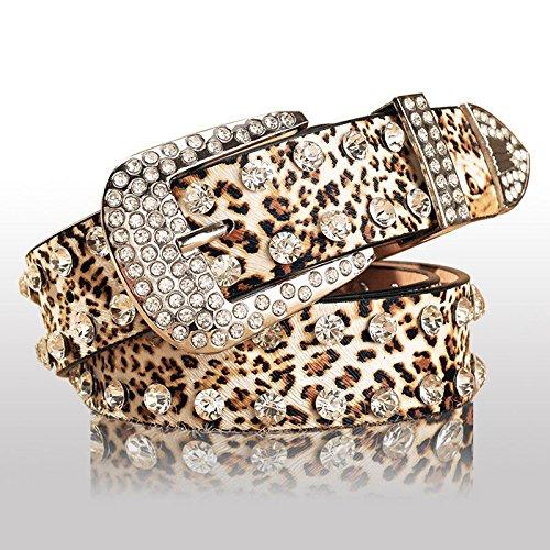 LONFENN Correa Ancha De La Correa del Cinturón del Leopardo del Embutido De Las Mujeres del Cinturón De Las Mujeres 108Cm * 3.3Cm Leopardo
