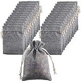 FOGAWA Jutesack Klein 25 Pcs 9 * 13 CM Jutesäckchen mit Bündel Geschenksäckchen Grau Natur Säckchen für Adventskalender Weihnachten Hochzeit Schmuck Mitbringsel