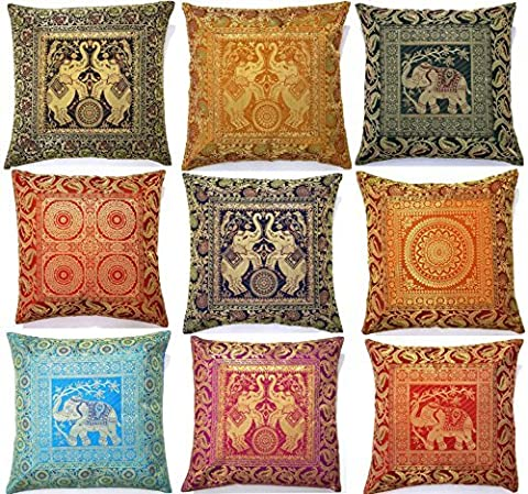 10 Pcs Elephant Embroidery Pillow Covers, Banarsi Silk Brocade Bed/sofa Cushion Cover 16x16 Inches by The Ethnic Crafts