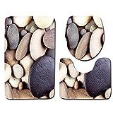 P-A 3 stücke/Strand Serie set Gedruckt Rutschfeste Bad Teppiche Teppich Wc Deckel Badematte, Badematte + Sockel Matte + Wc-sitzbezug Mat (Farbe : 038, Größe : 75x45cm)