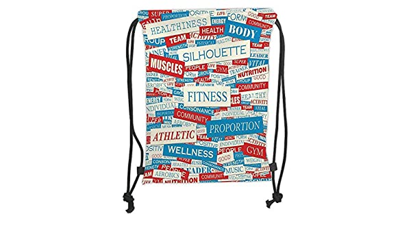 Fevthmii Backpacks Bags Of Physical Drawstring fitness Words collage nm0ON8wyv