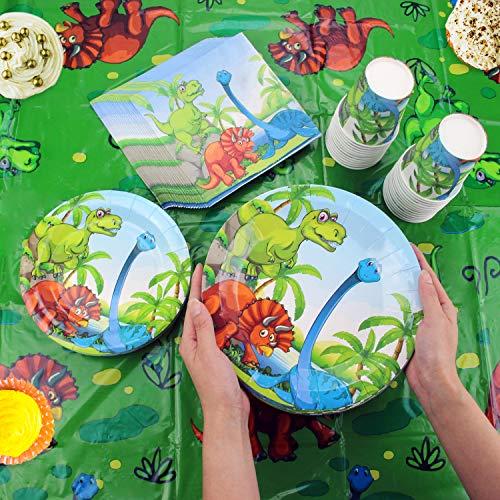 Kompanion Set de 177 Piezas de Fiesta Diseño de Dinosaurio,  Incluye Pancarta,  Platos, Vasos,  Cubiertos,  Servilletas, Mantel,  Cucharas,  Tenedores y Cuchillos,  25 Personas