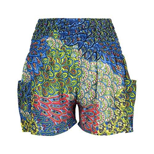 Lofbaz Damen Elefant Shorts Kittel Peacock Blau & Grün