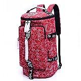 WOMJIA Bunt Reisetsache Sporttasche Weekender Tasche Handgepäck aus Canvas Segeltuch 35 Liter Rot