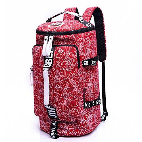 WOMJIA Bunt Reisetsache Sporttasche Weekender Tasche Handgepäck aus Canvas Segeltuch 35 Liter Schwarz Rot
