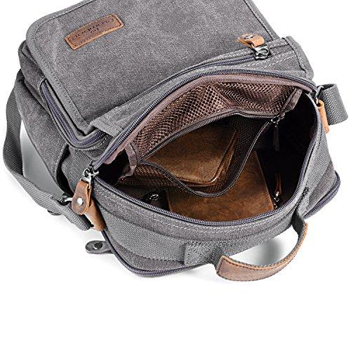 Plambag Segeltuch Kreuz Körper Tasche Klein Schultasche Reisebeutel (Grau) Grau