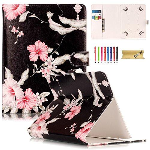 Universal 8.0 Zoll Tablet Hülle, Dteck(TM) Ständer Brieftasche Schutzhülle mit Karten-/Geldhalter Magnetische Schnalle Etui für Alle 7.5-8.5 Zoll iPad Mini, Galaxy Tab, Andriod IOS Tablet, Rosa Blumen