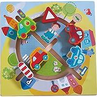HABA 301704 - Motorikbrett Fahrzeug-Welt | Holzspielzeug ab 12 Monaten | Lustiger Autoschiebespaß mit buntem Stadtmotiv preisvergleich bei kleinkindspielzeugpreise.eu