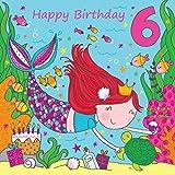 twizler 6. Geburtstagskarte für Mädchen mit niedlichem Mermaid & Glitzer–Sechs Jahre alt–Alter 6–Kinder Geburtstag Karte–Mädchen Geburtstag–Happy Birthday Karte