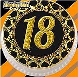 18. Geburtstag vorgeschnittene & essbare Tortendeko aus Zuckerguss, 19,1cm Durchmesser