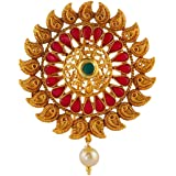 Anuradha Art Green Colour Styled with South Indian Hair Brooch/Ambada Pin for Women/Girls