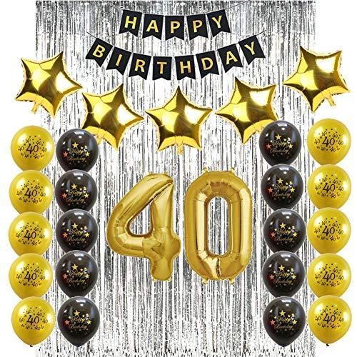 40 Geburtstag Dekoration Schwarz und Gold Set - 40. Geburtstag Party Deko Helium Luftballons für Männer Frauen