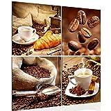 Bilder Kaffee Coffee Wandbild Vlies - Leinwand Bild XXL Format Wandbilder Wohnzimmer Wohnung Deko Kunstdrucke 60 x 60 cm Braun 4 Teilig -100% MADE IN GERMANY - Fertig zum Aufhängen 504144a