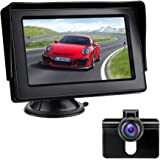 Reversing Camera Kit with 4.3'' LCD Monitor Car Rearview Backup Camera IP68 Waterproof Night Vision Parking Assistance System for Vans, Cars, Trucks, RVs, 12V