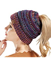 63ee180503b Tacobear Women Ponytail Messy Bun Beanie Hat Knit Handmade Winter Warm Bun Hat  Cap Stretch Crochet