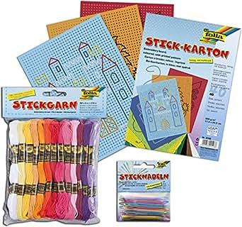 Folia 23991 - Stickgarn, 52 Docken a 8 m, 26 farbig-sortiert / Komplett-Set (Garn + Karton + Nadeln)
