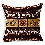 G.T. Baumwolle Leinen afrikanischen Ethnische Stil Streifen Print Überwurf Kissenbezug 45,7x 45,7cm, Baumwoll-Leinen, coffee, 18 X 18 Inch
