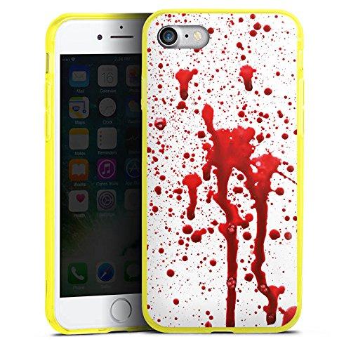 Apple iPhone 7 Silikon Hülle Case Schutzhülle Blut Halloween Gothic Silikon Colour Case gelb