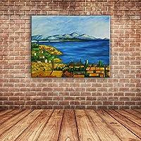 IPLST@ Dipinto a mano su tela, pittura moderna di paesaggio marino Vista olio su tela, grandi murales decalcomanie domestiche -24x32inch (Nessuna cornice, senza barella)