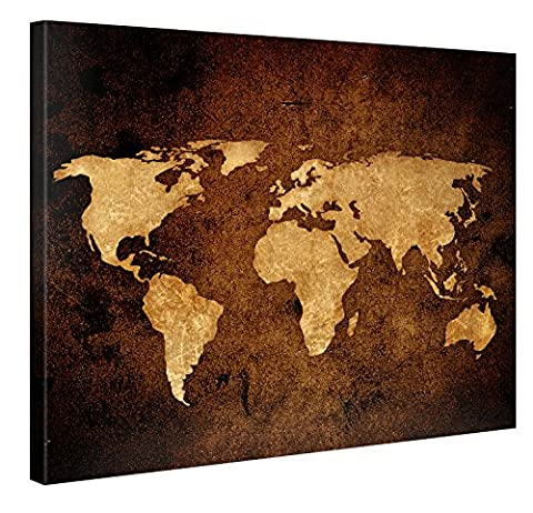 Large Canvas Print Wall Art – Vintage World Map - 100x75cm Canvas Picture Stretched On A Wooden Frame – Giclee Canvas Printing – Hanging Wall Deco Picture