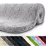 casa pura Badematte | kuscheliger Hochflor | rutschfester Badvorleger | viele Größen | zum Set kombinierbar | Öko-Tex 100 zertifiziert | 60x50 cm | Silver Grey (grau)