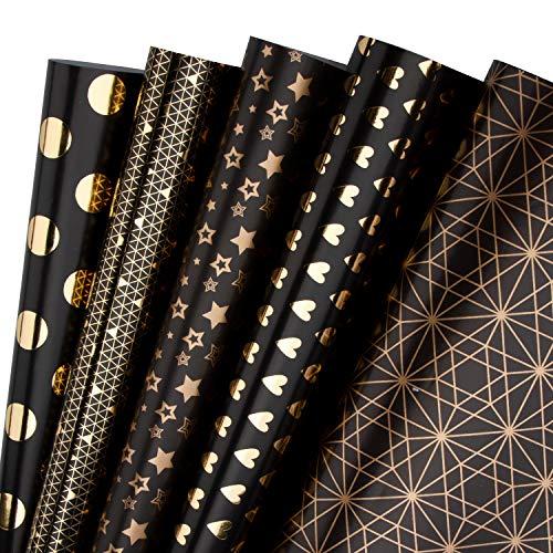 RUSPEPA Geschenkpapier Roll - Black Und Goldfolienmuster Für Hochzeit, Geburtstage, Valentines, Weihnachten - 5 Blatt - 44.5 X 76CM