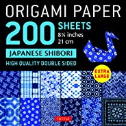 """Origami Paper 200 sheets Japanese Shibori 8 1/4"""" (21 cm): Extra Large Tuttle Origami Paper: High Quality,"""