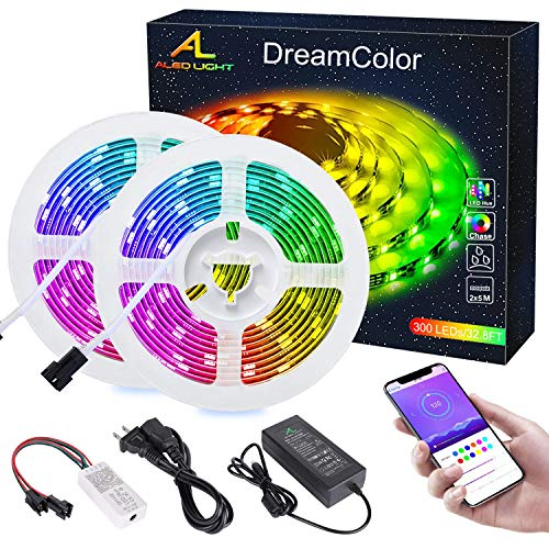 Striscia LED RGB Colore da Sogno con APP Bluetooth, ALED LIGHT 10m 5050 Strisce Luminosa Led Impermeabile Cambiamento Colore Luci Musica con IC Effetto Chasing Multicolore Natale Esterno Decorazioni
