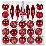 Kugel Sortiment Glas 24 tlg. mit Zapfen Weihnachtskugeln Baumkugeln Baumschmuck Weihnachtsdeko Christbaumkugeln Christbaumschmuck Kugeln Glaskugeln Set, Farbe: Rot Glanz/Matt